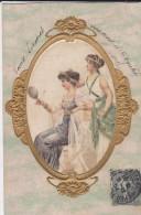 FEMMES Dans Un Médaillon---intérieur Genre Soie--carte Gaufrée---voir 2 Scans - Femmes