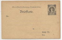 "AVANT 1900 - PRIVATPOST - POSTE PRIVEE - CARTE POSTALE ENTIER ""HAMMONIA"" De HAMBURG - Private"