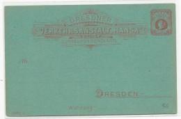 "AVANT 1900 - PRIVATPOST - POSTE PRIVEE - CARTE POSTALE ENTIER ""HANSA"" De DRESDEN - Private"