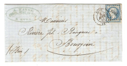 Y & T N° 14 CACHET 1818 SUR LETTRE LYON 11/8/1861 POUR BOURGOIN CACHET D´ARRIVÉE - ZOOM 3 Scans - - Marcofilia (sobres)