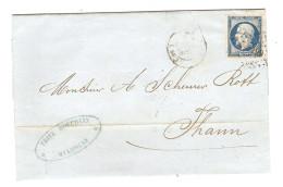 Y & T N° 14 SUR LETTRE MULHOUSE 3/1/1856 POUR THANN CACHET D´ARRIVÉE - ZOOM 3 Scans - - Marcofilia (sobres)