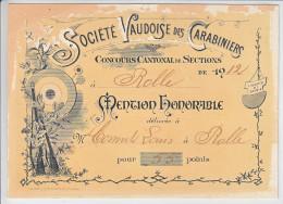 MENTION DE TIT - 1912 - SOCIETE VAUDOISE DES CARABINIERS - - Vieux Papiers