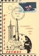 COS-L1 - FRANCE Carte Maximum Exposition Philatélique Et Cosmos Château D´Oléron 1966 - Philatelic Exhibitions