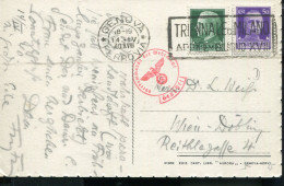 ITALY 1940 NERVI WWII MIXED FRANKING CENSORED POSTCARD TO WIEN - Andere