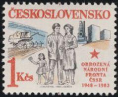 Czechoslovakia / Stamps (1983) 2580: National Front 1948-1983 (family, Agriculture, Buildings) Painter Jaroslav Chudomel - Autres