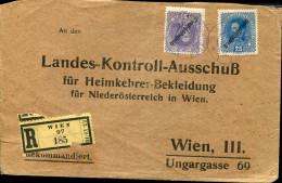 AUSTRIA WWI REGISTERED MIXED FRANKING COVER LANDES-KONTROLL-AUSSCHUSS - Cartas