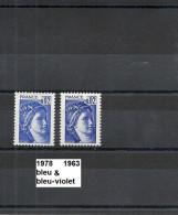 Variété De 1978 Neuf** Y&T N° 1963 Bleu & Bleu-violet - Variétés Et Curiosités