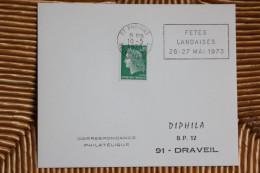77 Seine Et Marne - Flamme O= 1973 - PROVINS - Fêtes Landaises 26 27 Mai 1973 - Marcophilie (Lettres)
