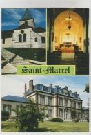 2 CPM SAINT MARCEL (Eure) - 3 Vues, Auberge Des Prés Rue Des Prés - France