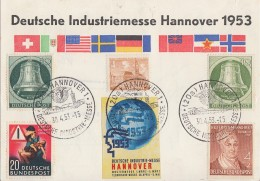 Berlin Anlaßkarte Dt. Industriemesse Hannover Midf Minr.43,76,83 Bund Minr.156,162 SST 30.4.53 - Berlin (West)