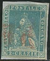 1857 - TOSCANA - 2 CRAZIE - 13a - USATO  - DIFETTI CLICHE´ - SIGNED - EURO 250,00 +++ - Toscane