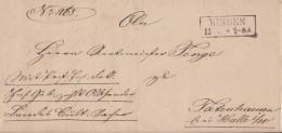 Preussen Brief Gel. Von R2 Minden 11.4.1861 Nach Totenhausen Bei Halle/Westfalen - Preussen