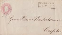 Preussen GS-Umschlag 1 Sgr. R2 Mülheim A. D. Ruhr 7.2. Gel. Nach Crefeld - Preussen