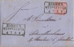 NDP Brief EF Minr.16 Barmen Wupperfeld 4.7. Gel. Nach Schnellenhaus Bei Sundern - Norddeutscher Postbezirk
