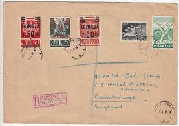 Poland: Registered Cover, Warsaw To Cambridge, 5 April 1948 - Poland