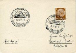 7351 Germany Reich, Special Postmark 1936 Hockenheim (baden)  Motorrad Rennbahn, On Circuled Card - Motos