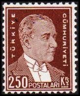 1931. Mustafa Kemal Pascha. 250 Ks. On Thicker White Coated Paper.  (Michel: 963y) - JF193713 - 1921-... République