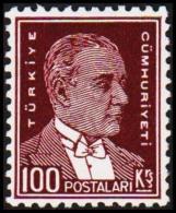 1931. Mustafa Kemal Pascha. 100 Ks. On Thicker White Coated Paper.  (Michel: 961y) - JF193709 - 1921-... République