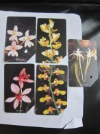 Urmet Phonecard,orchids,set Of 5,used,each Card Punched With Heart Shape