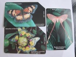 Urmet Phonecard,SRL-12,13,14 Butterflies,three Cards,used - Sierra Leone