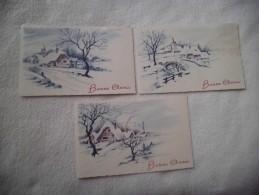 Lot De 3 Cartes ..ILLUSTRATIONS..MAISONS SOUS LA NEIGE....BONNE ANNEE - Nieuwjaar