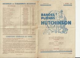 AUT005 - AUTO - PUBLICITE TARIF 1930 PNEUS HUTCHINSON à PARIS - 56 * 21.5 CM Dépliée - Pubblicitari
