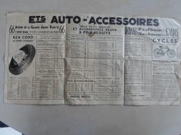 AUT014 - AUTO - PUBLICITE AUTO ACCESSOIRES à PARIS - 53 * 27 Cm Dépliée - PNEUX REX CORD - VELO THOMANN - 1936 - Cars