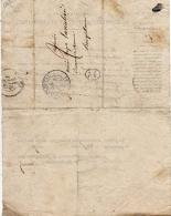 C043 - DARNETAL à BOISGUILLAUME - 22 FEVRIR 1837 - CACHET NOIR 1 D - AVERTISSEMENT ENREGISTREMENT ET DOMAINES - 1801-1848: Precursori XIX
