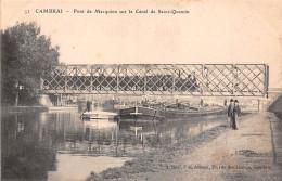 59 - Cambrai - Train Sur Le Pont De Marquion Sur Le Canal De Saint-Quentin Et Animation Au Pied - Cambrai