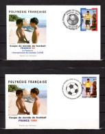 """POLYNESIE FRANCAISE 1998 : 2 Env. 1er Jour : """" COUPE DU MONDE DE FOOTBALL 98 EN FRANCE """". N°YT 565 + 571. Parf état. FDC - World Cup"""
