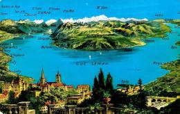 [DC2713] CPA - SVIZZERA - PANORAMA DU LAC LEMAN DEPUIS LAUSANNE - Viaggiata 1956 - Old Postcard - Schweiz