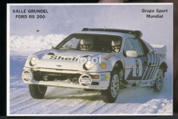 POCKET CALENDAR CALENDRIER VOITURE RALLYE CAR RALLY 1986 FORD RS 200 KALLE GRUNDEL - Calendriers