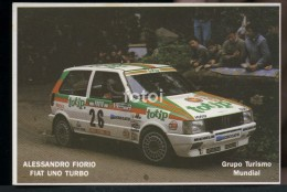 POCKET CALENDAR CALENDRIER VOITURE RALLYE CAR RALLY 1986 FIAT UNO TURBO ALESSANDRO FIORIO - Small : 1981-90
