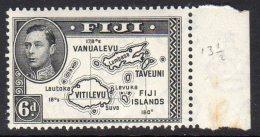 FIJI - 1938-1955 KGVI SIX PENCE 1940 DEFINITIVE DIE II P13.5 WITH RIGHT MARGIN FINE MNH ** SG 261 - Fiji (...-1970)
