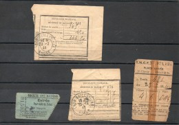 Récépissés De Mandat , Ticket De SNCF, Billet Entrée Palais Société Des Nations - Old Paper