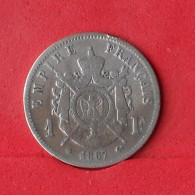 FRANCE 1 FRANC 1867 - 5 GRS - 0,900 SILVER   KM# 806,1 - (Nº14674) - Frankreich