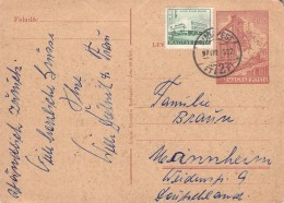 HUNGARY - POSTCARD 1957 + ADD. STAMP BUDAPEST -> MANNHEIM/GERMANY Mi #P130 - Ganzsachen