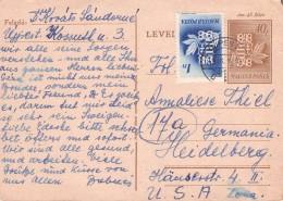 HUNGARY - POSTCARD 1949 + ADD. STAMP BUDAPEST -> MANNHEIM/GERMANY Mi #P123 - Ganzsachen