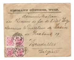 Österreich Brief Wien 1898 Hermann Günther Nach Belgien Verwaltung Der Eisenbahn Des Belgischen Staats Brüssel PR3072 - Briefe U. Dokumente