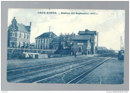 """Deux - Acren    La Gare   ( 25 Septembre 1907 )  (Twee - Akkers """" Station """" ( 25 Septembre 1907 )  Top Carte - Lessines"""