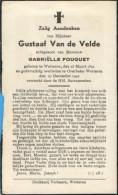 Doodsprentje / Bidprentje / Avis De Décès / Deathcard / Mortuaire / Gustaaf Van De Velde / Overbeke Wetteren / 1942 - Religion & Esotérisme