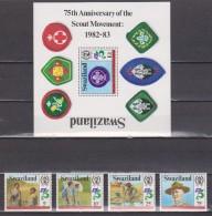 BOY SCOUTS. SWAZILAND 1982. H.B. + SERIE COMPLETA. NUEVO - MNH ** OFERTA - Movimiento Scout
