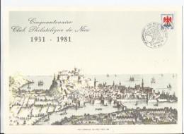 FRANCE - TIMBRE NICE SUR DOCUMENT AVEC CAD 50EME ANNIVERSAIRE CLUB PHILATELIQUE DE NICE 10/11 OCTOBRE 1981 - Expositions Philatéliques