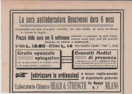 MEDICINA FARMACOPEA SALUTE CURA ANTITUBERCOLARE BENCIVENNI  LABORATORIO CHIMICO HEALH E STRENGHT MILANO 1906 - Pubblicitari