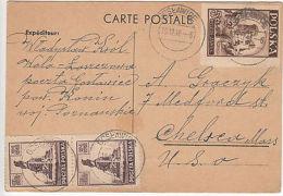 Poland: Postcard Receipt, Gostawice To Chelsea, MA, USA, 19 December 1946 - Poland