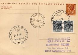 1976 CARTOLINA CON ANNULLO SPECIALE MILANO COMIS /  PEL - Interi Postali