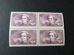 BLOC 4 CHOMEURS INTELLECTUELS 55c + 10c 1938 - France