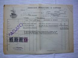 Connaissement 1949 Servizio Marittimo A Vapore Sur Le Lupa De Gênes à Sète Vin Italienavec 4 TP Fiscaux - Italia