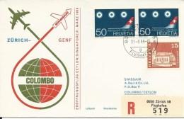RF 69.1, Swissair, Zürich - Colombo, Coronado, Recommandé, 1969 - Sri Lanka (Ceylan) (1948-...)