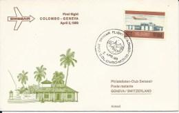 RF 69.1, Swissair, Colombo - Genève, Coronado, 1969 - Sri Lanka (Ceylan) (1948-...)